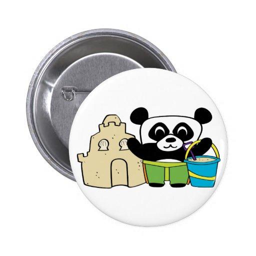 Boy Panda with Sandcastle Pinback Button