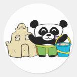 Boy Panda with Sandcastle Round Sticker