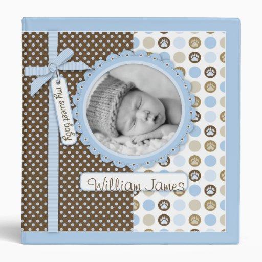 Boy Paw Print Polka Dots 1.5 in. Photo Album Binder