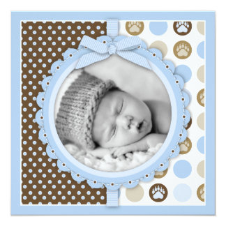 Boy Paw Print Polka Dots Birth Announcement Square