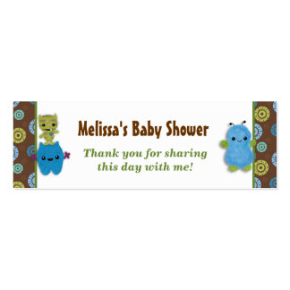 Boy Peek a Boo Monsters Baby Shower Favor Tags PAB Double-Sided Mini Business Cards (Pack Of 20)