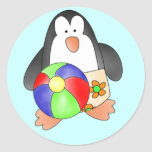 Boy Penguin at Beach Tshirts and Gifts Round Stickers