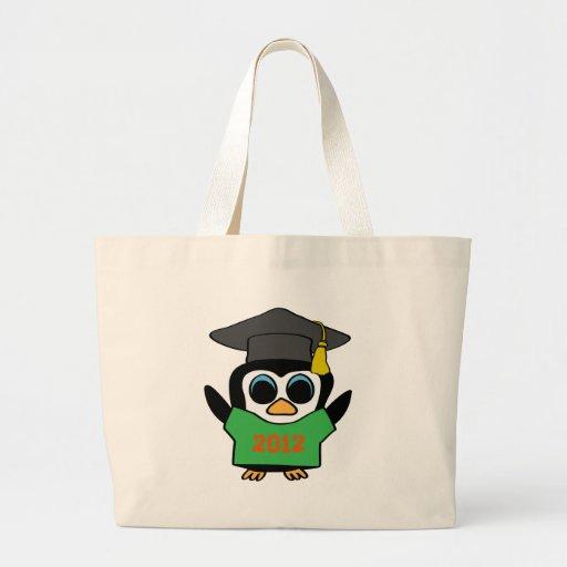 Boy Penguin Green & Orange 2012 Grad Jumbo Tote Bag