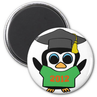 Boy Penguin Green Orange 2012 Grad Refrigerator Magnet