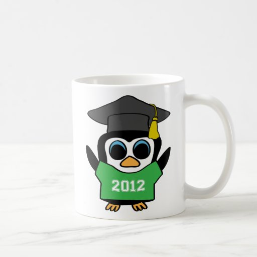 Boy Penguin Green & White 2012 Grad Mugs