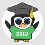 Boy Penguin Green & White 2012 Grad Stickers