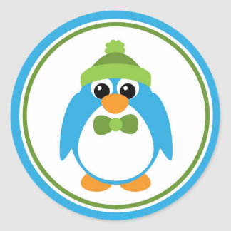 Boy Penguin in Blue and Green Round Stickers