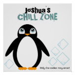 boy PENGUIN personalized kid's room art poster