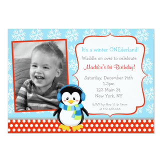 Boy Penguin Winter Birthday Invitations