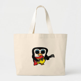Boy Penguin with Electric Guitar Tote Bags