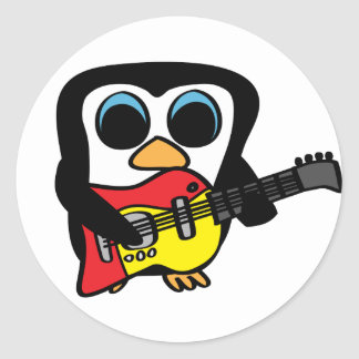 Boy Penguin with Electric Guitar Sticker