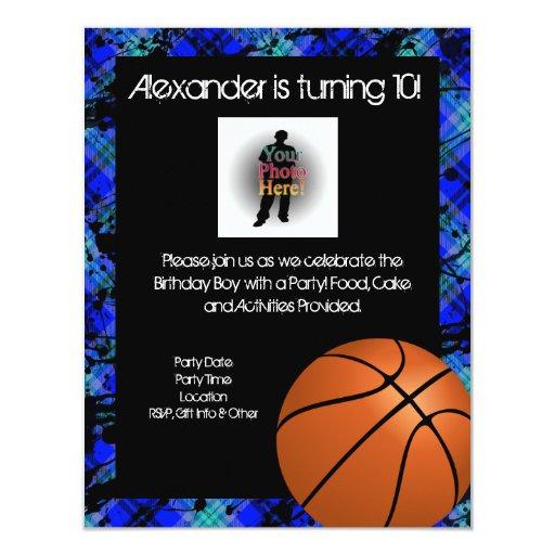 "Boy Personalized Basketball B-Day Party Invitation 4.25"" X 5.5"" Invitation Card"