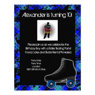 Boy Personalized Roller Skating Party Invitation