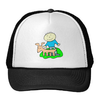 Boy Petting Dog Trucker Hat