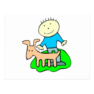 Boy Petting Dog Postcard