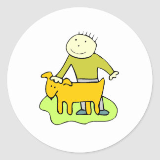 Boy Petting Dog Classic Round Sticker