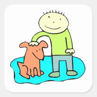 Boy Petting Dog Square Sticker