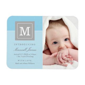 Boy Photo Birth Announcement | Blue Letter Block Magnet