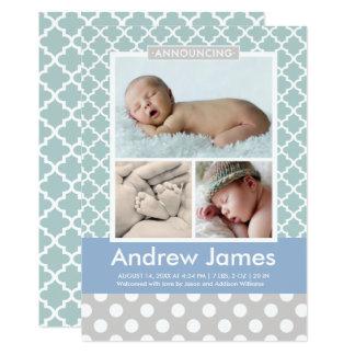 Boy Photo Birth Announcement Card | Modern Pattern