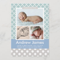 Boy Photo Birth Announcement Card | Modern Pattern