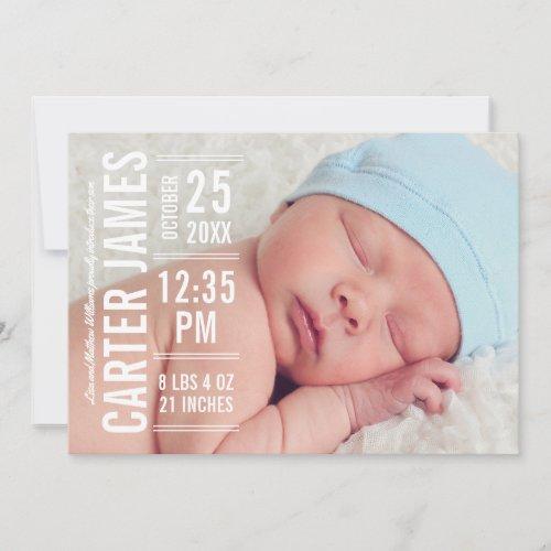 Boy Photo Birth Announcement Card  Modern Type