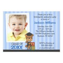 Boy Photo Graduation Bear Blue Stripes Card