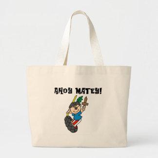 Boy Pirate Ahoy Matey Canvas Bags