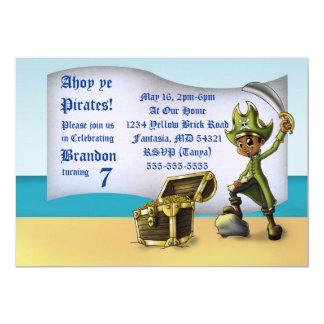 """Boy Pirate Birthday Invitation"" 7"" x 5"" Cards"