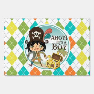 Boy Pirate on Colorful Argyle Lawn Sign
