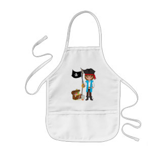 Boy Pirate with Treasure and Flag Apron