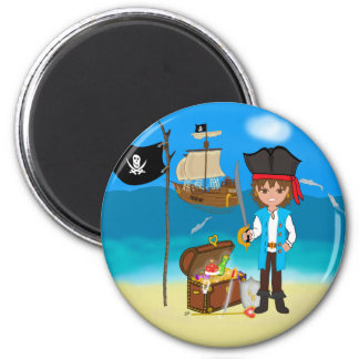 Boy Pirate with Treasure Chest Magnet Fridge Magnets