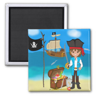 Boy Pirate with Treasure Chest Magnet Refrigerator Magnet