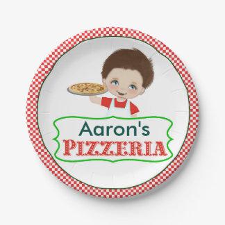 Boy Pizza Party Paper Plates