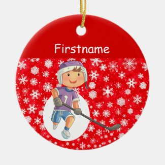 Boy player hockey ornament - red white snow