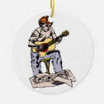 Boy playing acoustic guitar with sheet music Double-Sided ceramic round christmas ornament