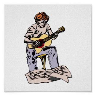 Boy playing acoustic guitar with sheet music poster