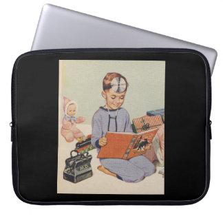 Boy playing Doctor  - Retro Laptop Sleeve