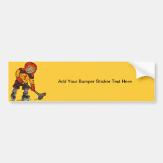 Boy Playing Hockey Bumper Sticker