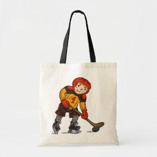 Boy Playing Hockey Canvas Bag