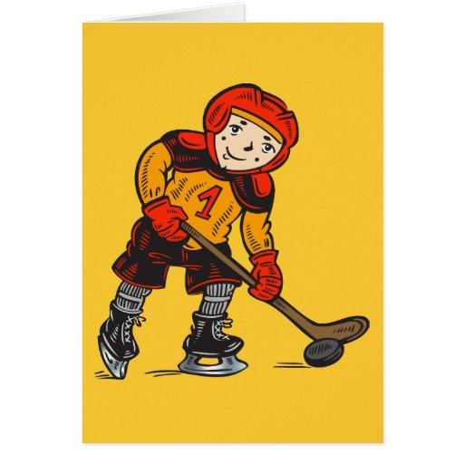 Boy Playing Hockey Card