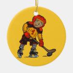 Boy Playing Hockey Christmas Tree Ornament