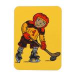 Boy Playing Hockey Magnets