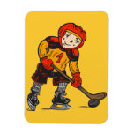 Boy Playing Hockey Rectangle Magnets