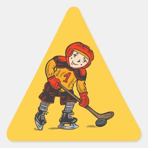 Boy Playing Hockey Triangle Stickers