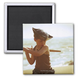 Boy playing pirate, wooden sword 2 inch square magnet