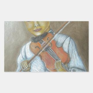 boy playing violin rectangular sticker