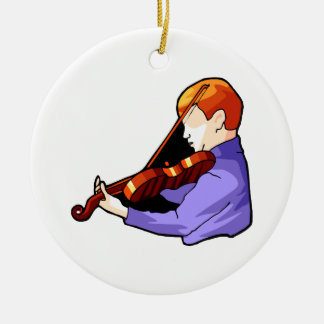 Boy playing Violin side back view graphic image Double-Sided Ceramic Round Christmas Ornament