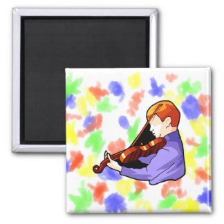 Boy playing Violin side back view graphic image Magnet