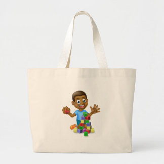 Boy Playing With Building Blocks Large Tote Bag