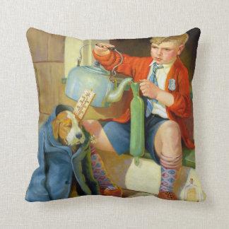 BOY PLAYING WITH DOG: Retro Fine Art Cushion
